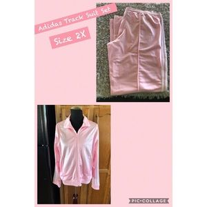 Adidas Pink and White Track Suit Set Size 2X